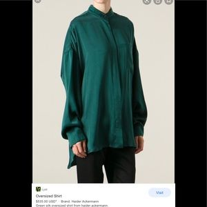 Haider ackermann green silk tunic/ dress - 36